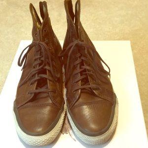 Frye brown leather hi top sneakers